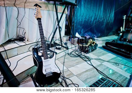 Set Of Musical Instruments. Guitar And Drums