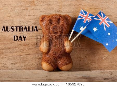 Cake bear and australia flag. Greeting card. National day