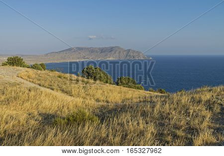View of the Cape Meganom from the top of Cape Alchak. Crimea September