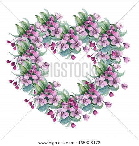 Garland in the form of heart with cherry blossom. Isolated on white background. watercolor illustration.