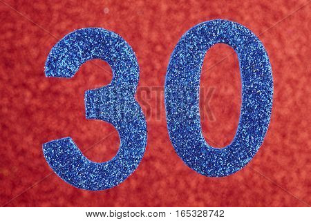 Number thirty blue color over a red background. Anniversary. Horizontal