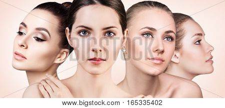 Collage of perfect faces of beautiful woman's over beige background