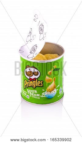 Chisinau Moldova 15 January 2017: Pringles potato chips sour cream & onion. potato and wheat-based stackable snack chips owned by the Kellogg Company.