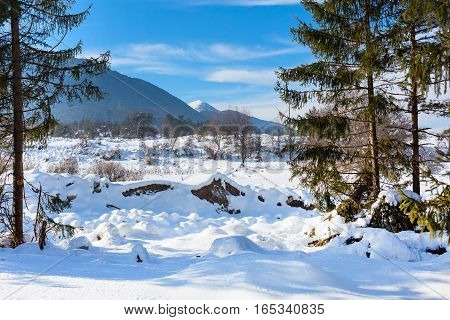 Winter landscape panorama with mountain peaks view and snow valley, Bansko, Bulgaria