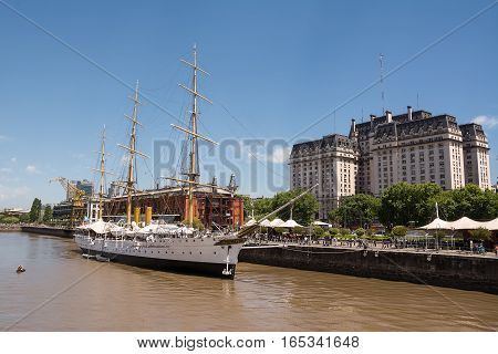Frigate Sarmiento in the Rio de la Plata and Kirchner palace in the background (Buenos Aires Argentina)