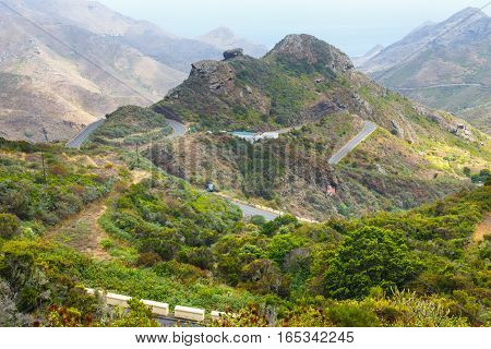 Winding And Narrow Road In Anaga Mountains, Tenerife, Spain, Europe