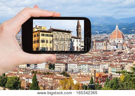 Tourist Photographs Houses In Florence City