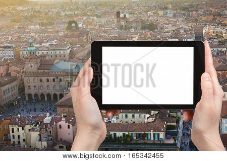 Tourist Photographs Main Square In Bologna City