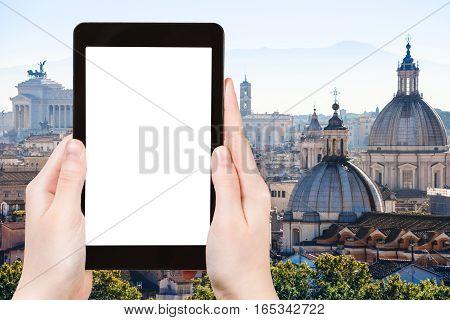 Tourist Photographs Skyline Of Rome Town