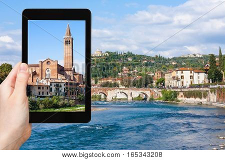 Tourist Photographs Church In Verona City