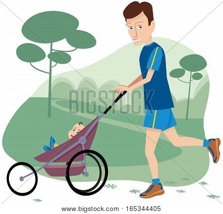 An image of a young father jogging with his newborn through the park.