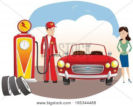An illustration of a gas attendant pumping gas into an auto.