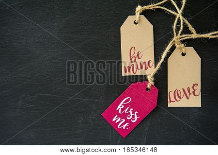 Valentine's Day gift labels tag on the chalkboard background