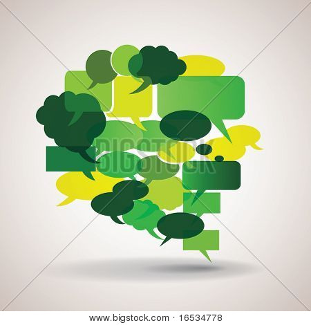 Big green and yellow speech bubble made from small bubbles