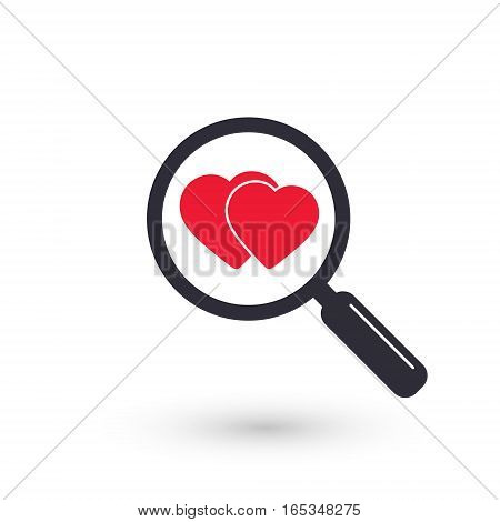 Search heart love icon vector dating illustration.