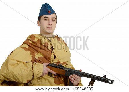 young Soviet soldier with machine gun ww2 on white background