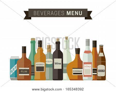 Beverages menu with bottles of alcoholic drinks. Vector flat illustration.