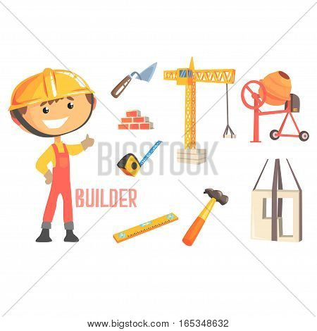 Boy Builder, Kids Future Dream Construction Worker Professional Occupation Illustration With Related To Profession Objects. Smiling Child Carton Character With Job Career Attributes Around Cute Vector Drawing.