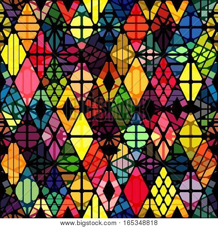 Rhombuses seamless pattern with overlay effect. Geometric colorful background.
