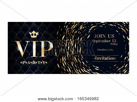 VIP club party premium invitation card poster flyer. Black and golden round burst design template. Sharp oval sequins pattern decorative vector background.