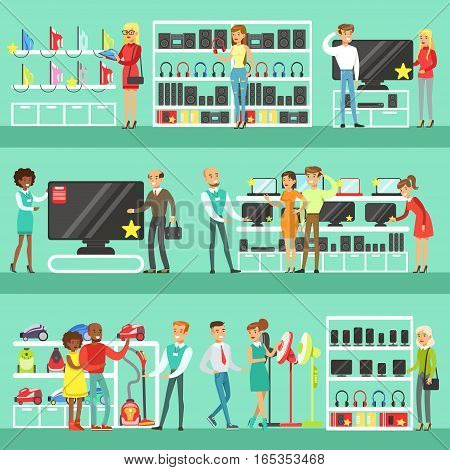 Smiling People In Electronic Store Shopping For Domestic Equipment Choosing With Shop Assistant Help Set Of Cartoon Characters. Supermarket Customers And Sellers Buying Home Appliances And Other Electronics Vector Illustrations.