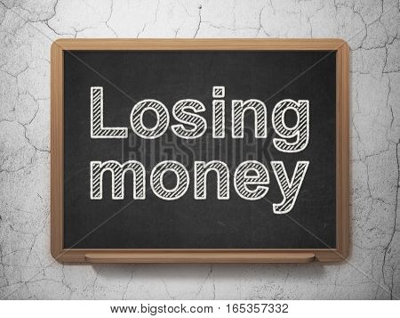 Banking concept: text Losing Money on Black chalkboard on grunge wall background, 3D rendering