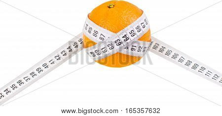 Orange with tape measurer around it - diet concept