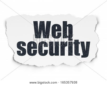 Privacy concept: Painted black text Web Security on Torn Paper background with Scheme Of Binary Code
