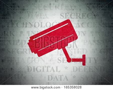 Privacy concept: Painted red Cctv Camera icon on Digital Data Paper background with  Tag Cloud