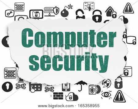 Safety concept: Painted green text Computer Security on Torn Paper background with  Hand Drawn Security Icons