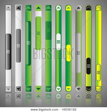 Vector scroll bar set for web template