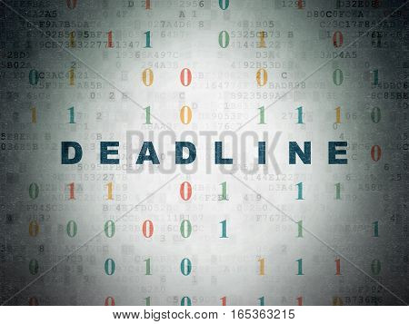 Business concept: Painted blue text Deadline on Digital Data Paper background with Binary Code