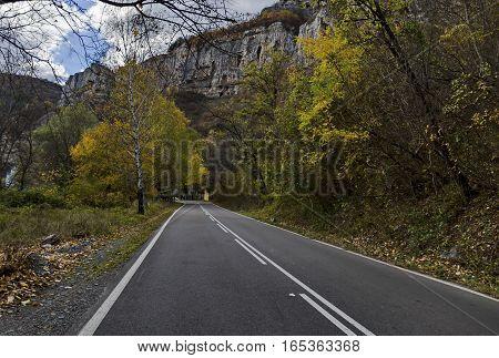 Road near by magnificent Lakatnik rocks in full height, Iskar river defile, Bulgaria