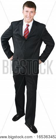 Businessman Standing with Hands on Hips - Isolated