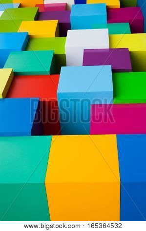 Abstract colorful geometric background. Yellow green yellow blue red pink white blocks colored edge shapes. Vertical photo.