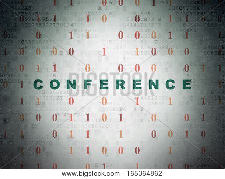 Finance concept: Painted green text Conference on Digital Data Paper background with Binary Code
