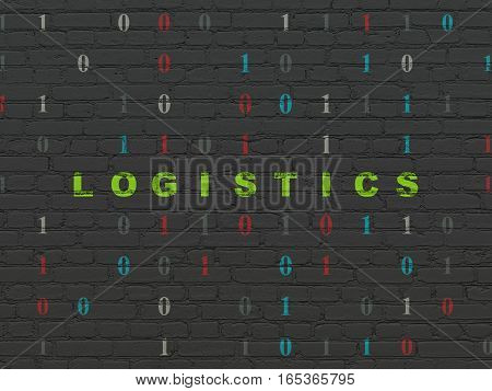 Finance concept: Painted green text Logistics on Black Brick wall background with Binary Code