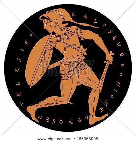 Amazon. Ancient Greek warrior woman. Vector illustration