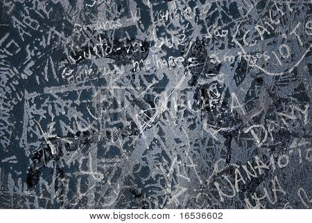 Grunge background with graffiti and writings on a concrete wall.