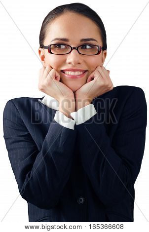Friendly Businesswoman Shrug with Head Reasting on Fists - Isolated