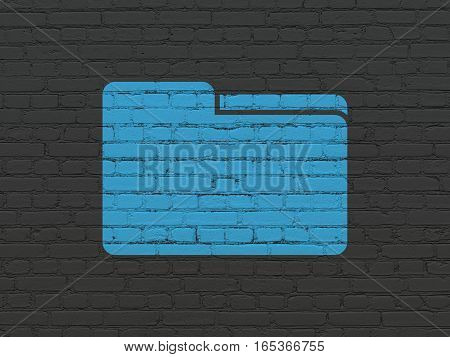 Finance concept: Painted blue Folder icon on Black Brick wall background