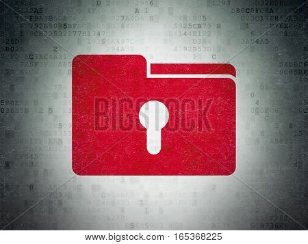 Business concept: Painted red Folder With Keyhole icon on Digital Data Paper background