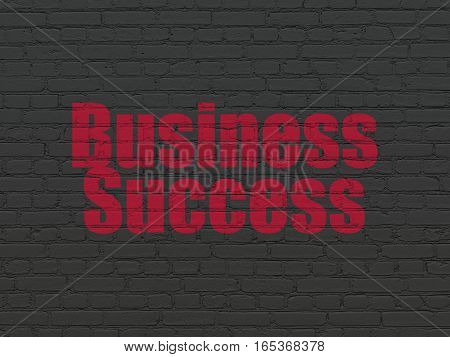 Finance concept: Painted red text Business Success on Black Brick wall background