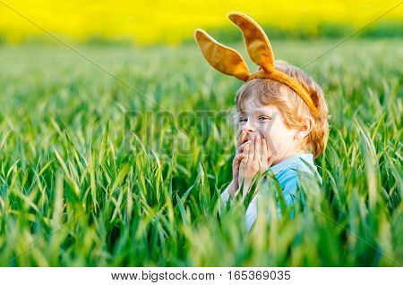 Cute little kid boy with bunny ears having fun with traditional Easter eggs hunt on warm sunny day, outdoors. Celebrating Easter holiday. Toddler finding, colorful eggs in green grass.