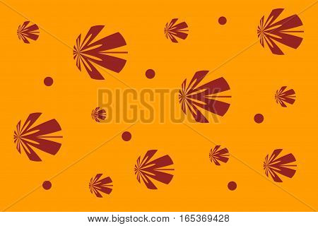 Illustration of an orange background with red flowers