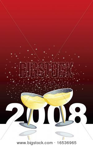 Red illustration with two glasses of champagne in a new year celebration.