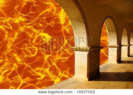 Composite image of burning hell and its entrance gates