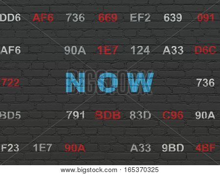 Time concept: Painted blue text Now on Black Brick wall background with Hexadecimal Code