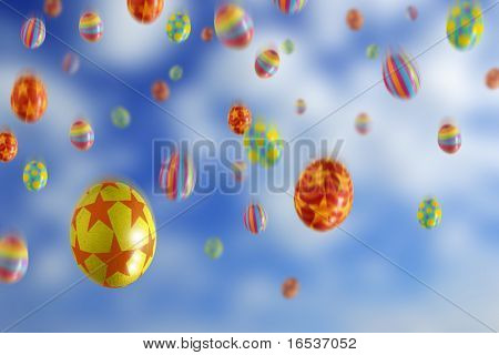 Many colorful Easter Eggs falling from the sky