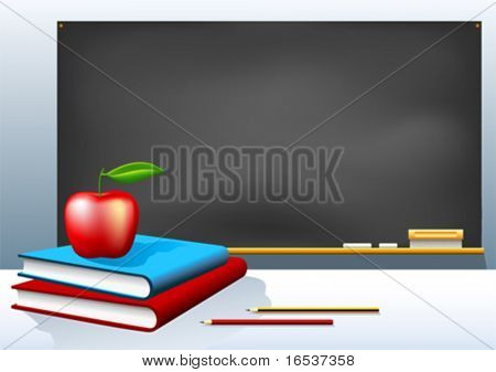 Vector illustration of school blackboard, books, pencils and apple